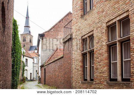 Old street in Bruges, Belgium