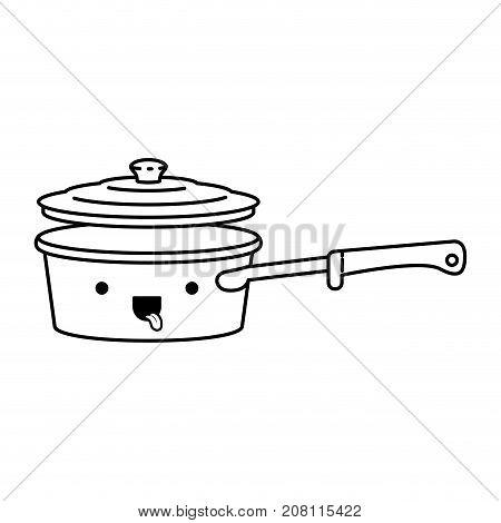 pan with handle and lid monochrome kawaii silhouette vector illustration