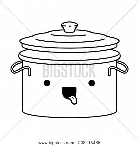 cooking pot with lid monochrome kawaii silhouette vector illustration