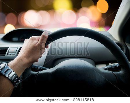 Driving a car at night bokeh color