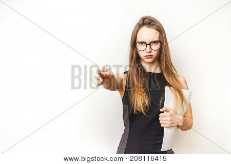 Questioning woman,strong office worker isolated, beautiful black dress