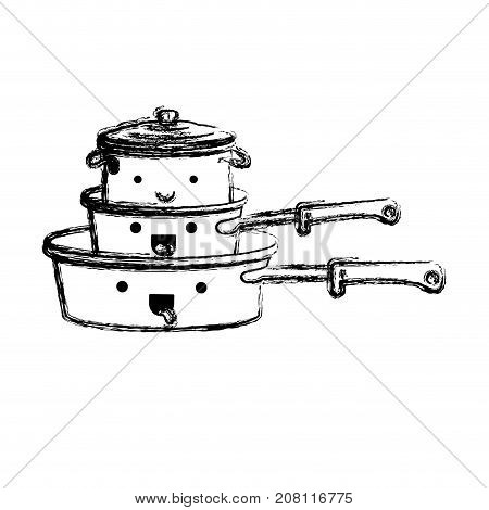 stewpan and cooking pot stack monochrome blurred kawaii silhouette vector illustration
