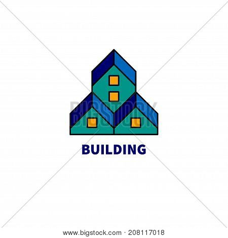 Logo construction. Abstract houses with roofs. Icon construction company. Stock vector