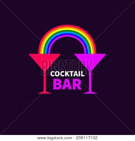 Two glasses of Martini with rainbow. Stock vector