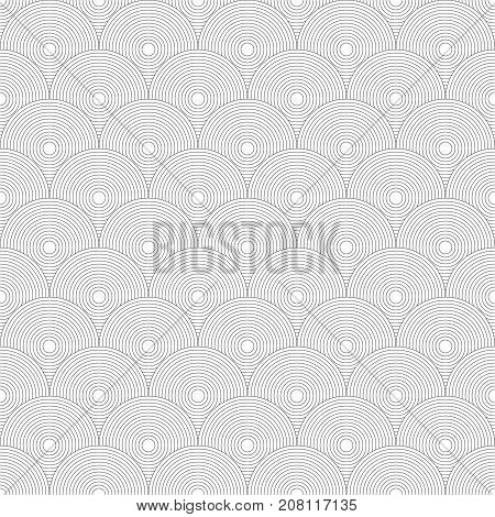 Traditional Japanese seamless pattern. White colored fish squama. Mermaid scales. Stock vector