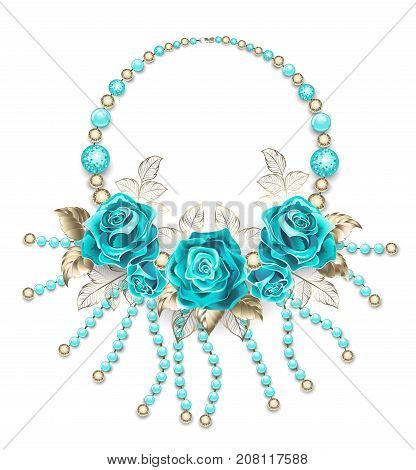 Necklace of turquoise roses white gold leafs turquoise and gold beads on a white background. Tiffany. Fashionable color. Turquoise rose. Design of jewelry.