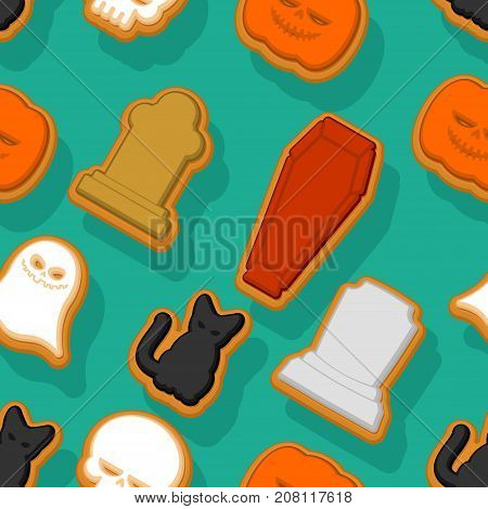 Halloween Cookie Seamless Pattern. Background Cookies For Terrible Holiday. Ghost And Pumpkin. Black