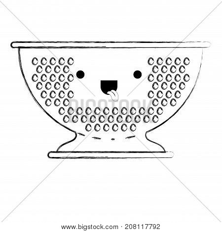 kitchen drainer monochrome blurred kawaii silhouette vector illustration