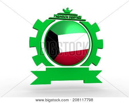 Sphere textured by flag of the Kuwait in gear shape emblem. Crumpled paper map. 3D rendering