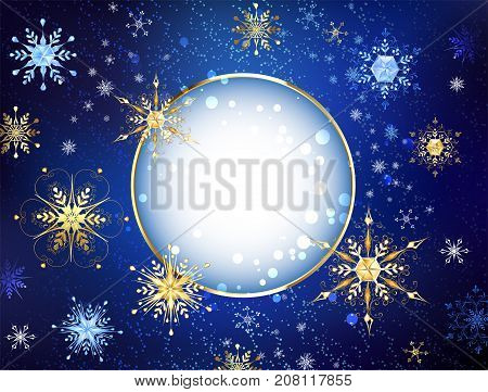 Round banner with gold jewelry snowflakes on a dark blue textured background. Gold snowflakes.