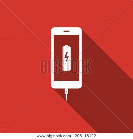 Smartphone battery charge icon isolated with long shadow. Phone with a low battery charge and with USB connection. Flat design. Vector Illustration