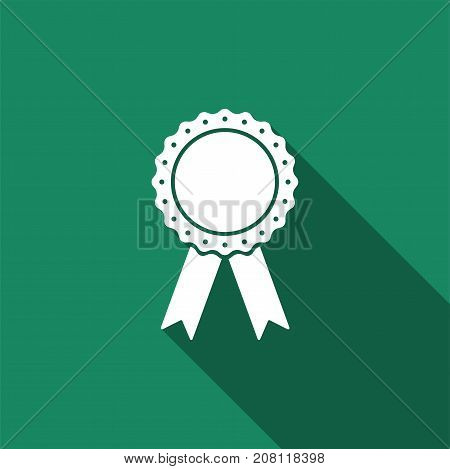 Medal badge with ribbons icon isolated with long shadow. Flat design. Vector Illustration