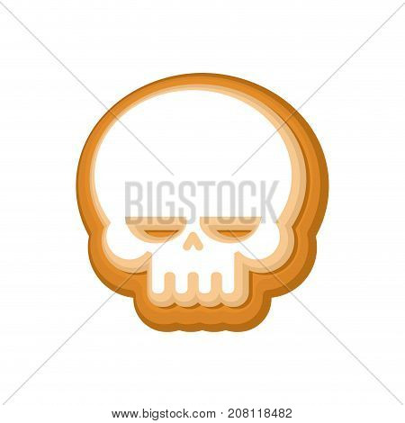 Halloween Cookie Skull. Cookies For Terrible Holiday. Vector Illustration