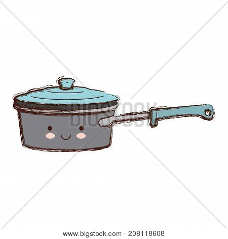 pan with handle and lid colorful kawaii blurred contour vector illustration