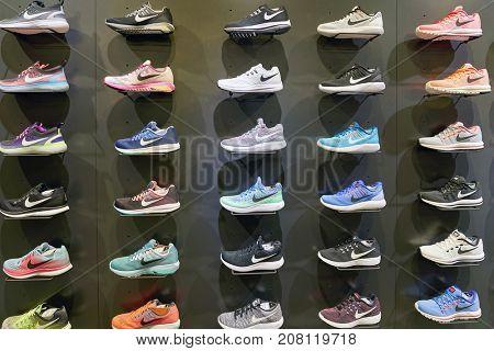 BUSAN, SOUTH KOREA - CIRCA MAY, 2017: footwear on display at Nike store.