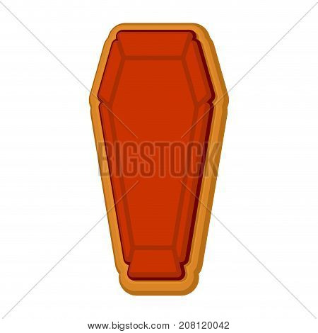 Halloween Cookie Coffin. Gingerbread Rip. Cookies For Terrible Holiday. Vector Illustration