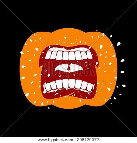 Pumpkin Screams  Open Mouth For Halloween. Pumpkin Shout. Vector Illustration