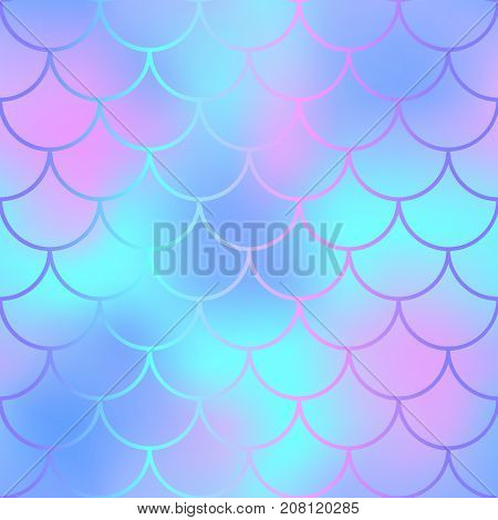 Fantastic fish skin with scale pattern. Mermaid tail vector background. Mermaid seamless pattern. Magic fishscale seamless background for nursery design. Seamless color mesh with fish scale ornament