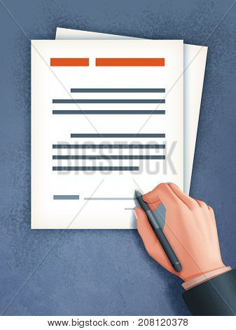Businessman signing a contract. Digital illustration.