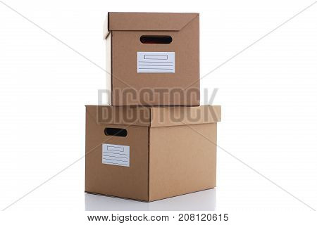A lot of carton box of kraft color isolated on white background. Theme of moving the loading of unloading cargo delivery of goods from the Internet to the purchaser from the supplier