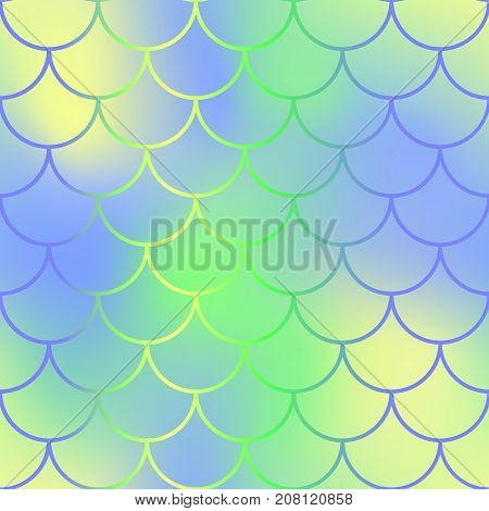 Vibrant fish skin with scale pattern. Mermaid tail vector background. Mermaid seamless pattern. Mermaid fishscale seamless background for nursery design. Seamless color mesh with fish scale ornament