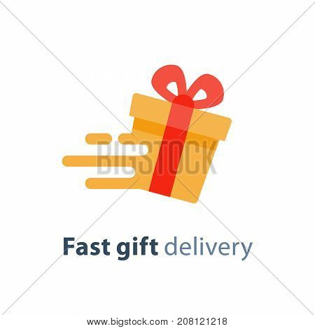 Fast gift delivery service, yellow red gift box in motion flat icon, present quick solution, vector illustration