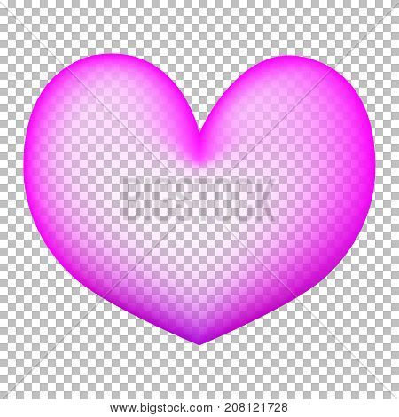 Pink heart on transparent background. Heart air balloon with transparent center. Bubble gum heart. Pink and violet bubble with text place. 3D airballoon. Love and romantic icon