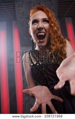 Portrait of screaming mystic woman