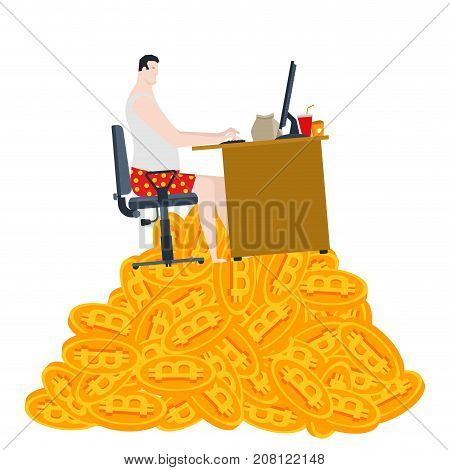 Home Mining Bitcoin. Freelancer Is Sitting On A Pile Of Bitcoins. Mining In Socks. Vector Illustrati