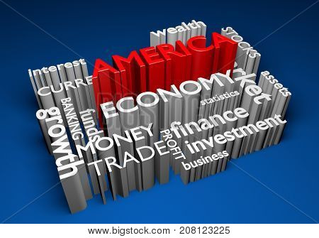 America economy and trade investments for GDP growth, 3D rendering