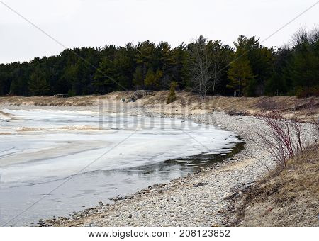 A view of the beach at the Petoskey State Park, near Petoskey, Michigan, during March.