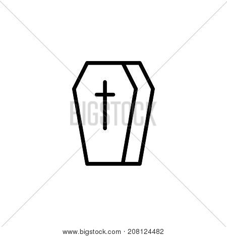 Coffin flat icon. Single high quality outline symbol of funeral for web design or mobile app. Thin line signs of death for design logo, visit card, etc. Outline logo of life.