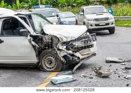 NAN THAILAND - OCT 25 : Undefined Car crash accident on the street of mountain over the Undefined traffic jam of car on October 25 2016 in Nan province Thailand