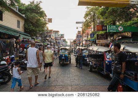 BANGKOK - APRIL 25 : Undefined tourists are walking street in Khaosan Road on April 25 2017 in Bangkok Thailand. Khaosan Road is a short street in central Bangkok