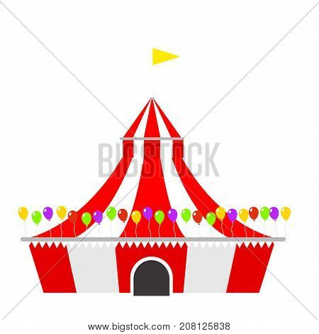 Circus tent marquee with stripes and flags carnival entertainment amusement lelements flat vector. Entertainment red dome carnival park arena celebration.