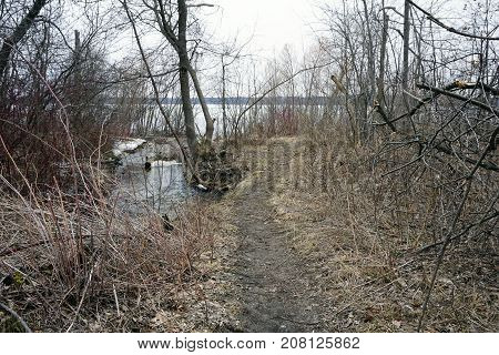 A foot path next to Tannery Creek leads to Little Traverse Bay near Bay View, Michigan, during March.