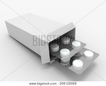 Open Medicine Packet . 3D Rendered Illustration