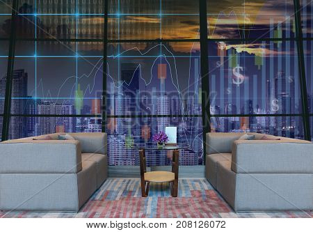 Lobby area of a hotel which can see Trading graph on the cityscape at night background Business financial concept dicut and retouch each elements, 3D illustration