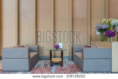 Lobby area of a hotel office. Interior design concept