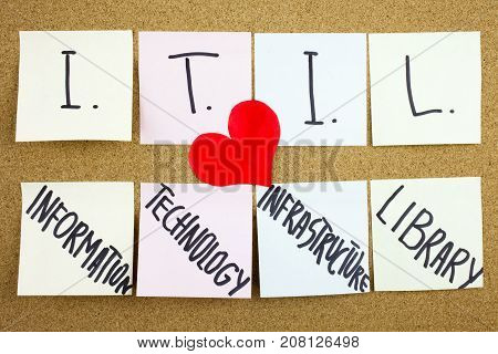 A Yellow Sticky Note Writing, Caption, Inscription Itil, Information Technology Infrastructure Libra