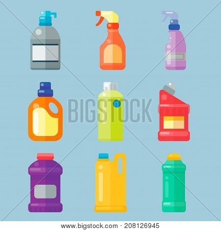 Group of bottles of household chemicals supplies and cleaning housework plastic detergent liquid domestic fluid bottle cleaner pack vector illustration.