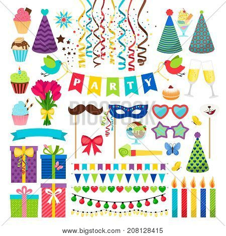 Birthday party design elements. Birthday celebration invitation vector decorations isolated on white, like garlands and masks, hats and candles