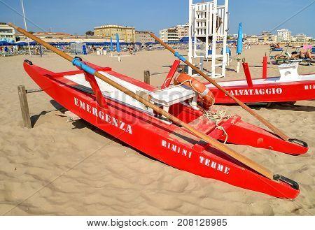 Rimini - Rescue Boat At A Beach