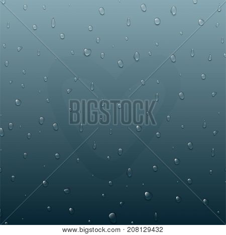 Realistic pure and transparent water drops splash liquid moisture background. Vector illustration wet light abstract macro fresh raindrop bubble. Refreshing art environment.