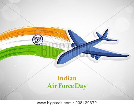 illustration of Aircraft on India flag background with Indian Air Force Day text on the occasion of Indian Air Force Day