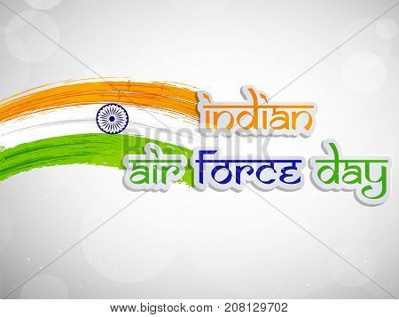 illustration of Indian Air Force Day text on India flag background on the occasion of Indian Air Force Day