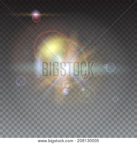 Star burst with sparkles. Blurred light rays and lens flare backdrop. Glow light effect. Abstract bright motion background. Dynamic backdrop with rays and beams of light. Isolated on transparent.