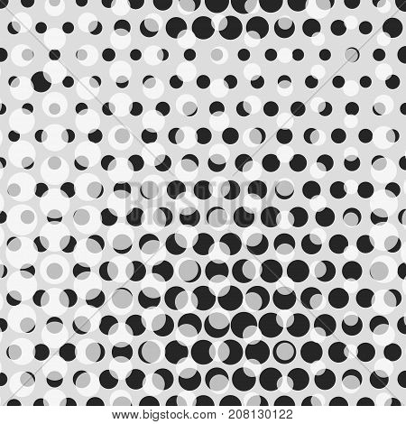 Abstract dotted halftone background. Monocrome pattern with semi transparencies. Decorative template for cover, poster or banner.