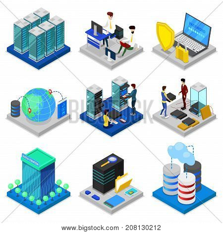 Data centre isometric 3D set. Global communication, internet network, cloud database, computer technology, data security. Data center with hosting servers equipment and staff vector illustration.