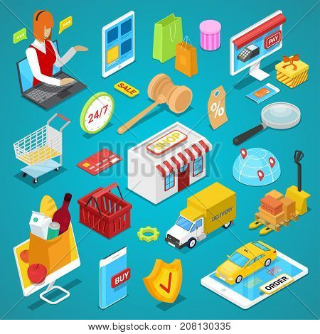 Online shopping isometric 3D set. Mobile marketing, e-commerce, online payment, internet auction collection. Digital mobile gadgets, home delivery, mall elements, food and goods vector illustrations.